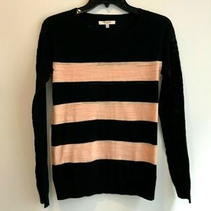 NEW Madewell Pink & Black Striped Top Sweater XS